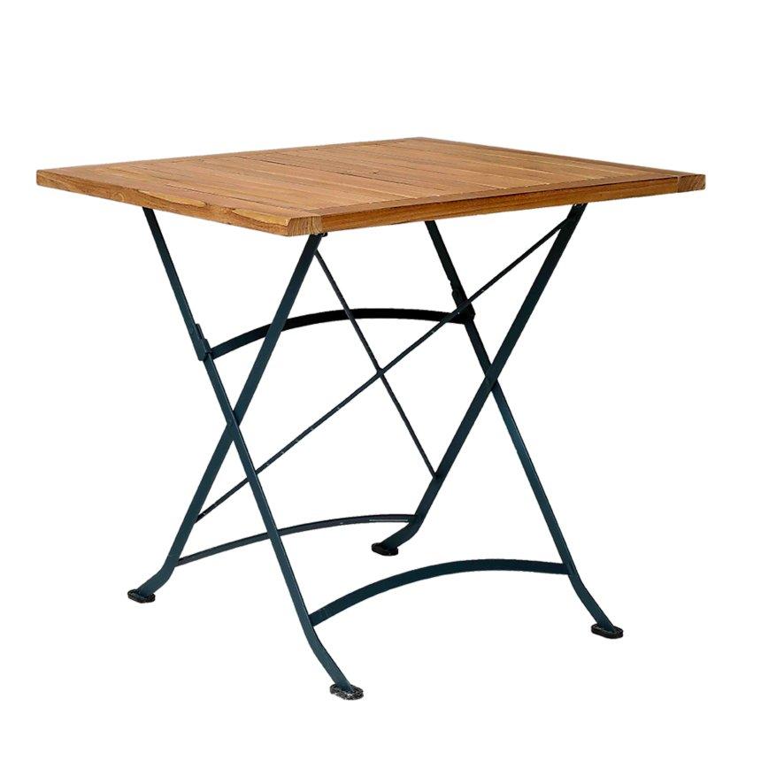 Table pliante en métal et acacia