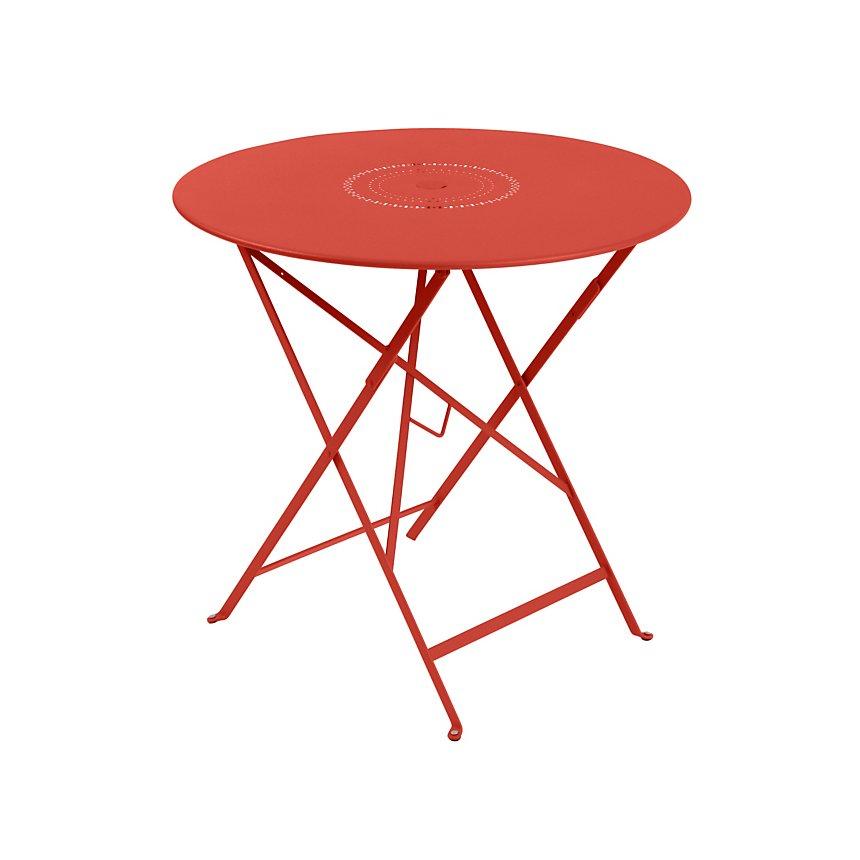 Table pliante ronde FERMOB Floréal  Ø 77 cm, avec trou parasol, coloris au