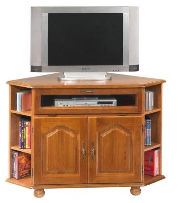 Meuble TV d'angle Cluzel à abattant, chêne.