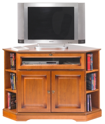 Meuble TV d'angle Florac à abattant,  merisier