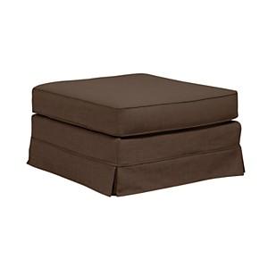 Pouf tissu coton Naxos, chocolat