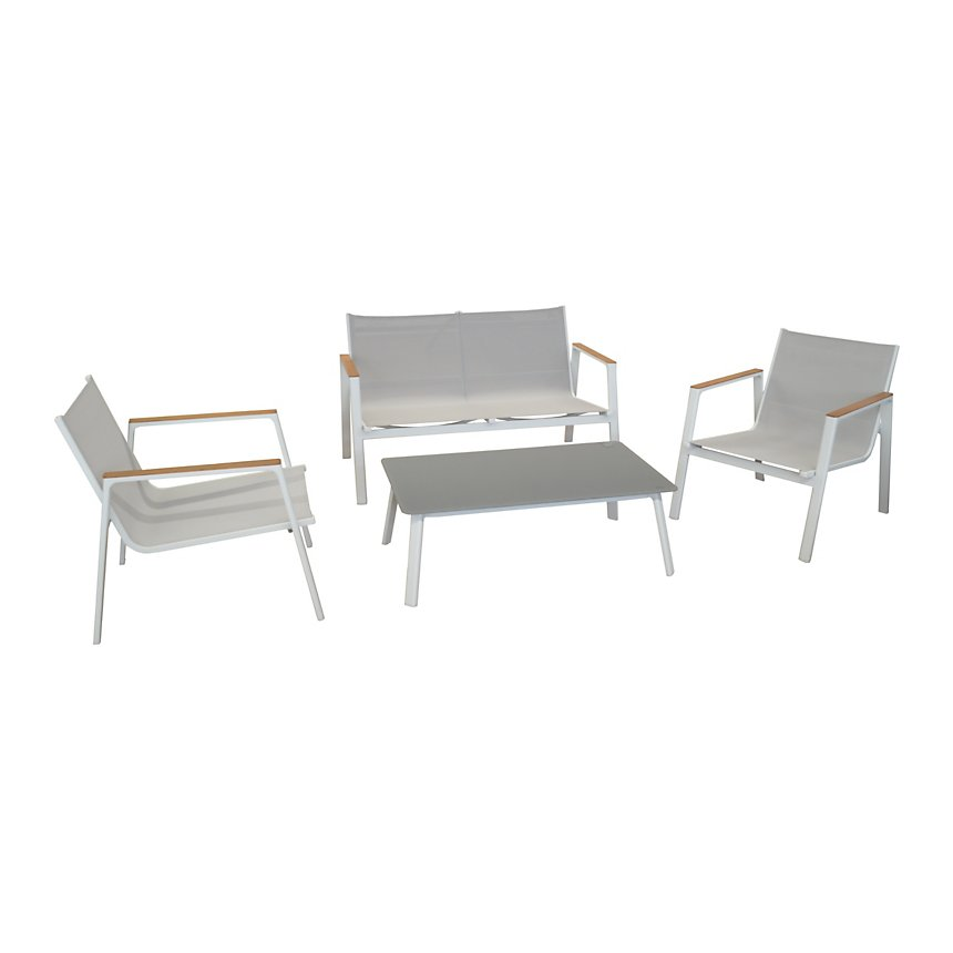Salon de jardin Venus avec 2 fauteuils, 1 table basse et 1 canapé
