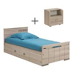 Lit 90 x 190 cm + tiroir lit + chevet  G