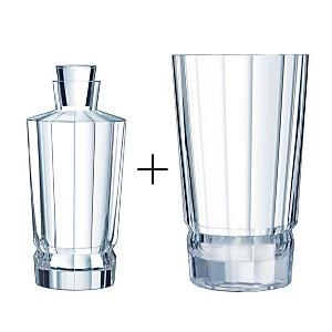 Lot Carafe 0.9 L + Vase - Macassar CRISTAL D'ARQUES