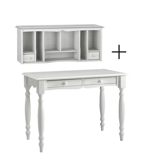 Bonheur du jour avec rehausse hastings blanc for Bureau meuble camif