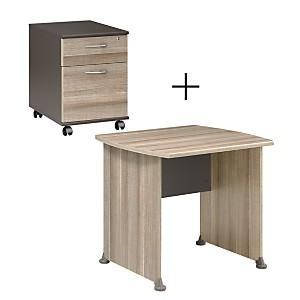 Ensemble Table de Bureau 80 cm + caisson