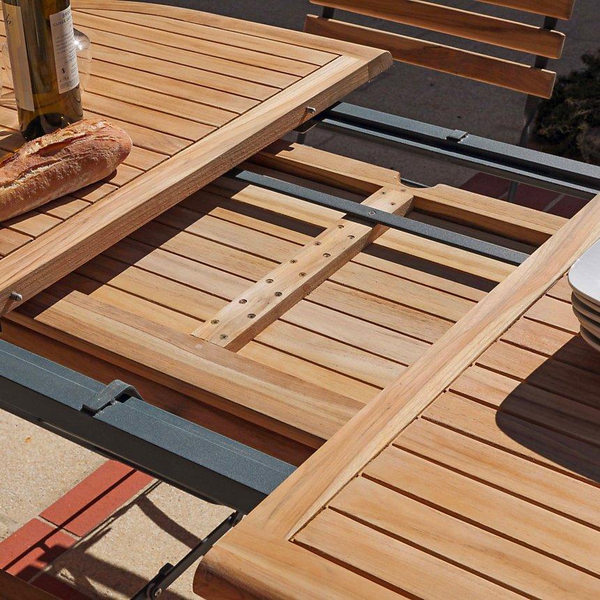 Table pliante ovale extensible en métal et teck