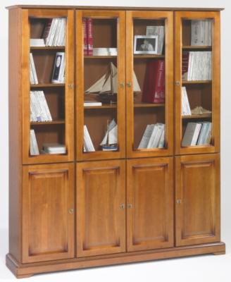 Bibliothèque Florac 8 portes, merisier
