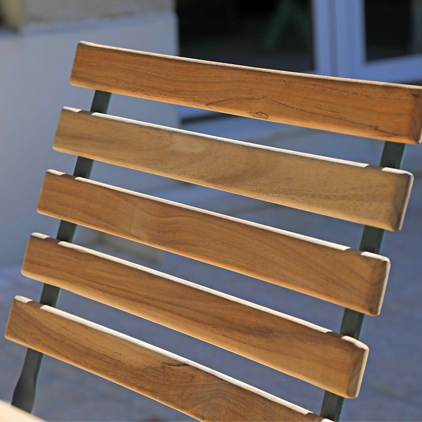 Lot de 2 chaises pliantes en métal et teck