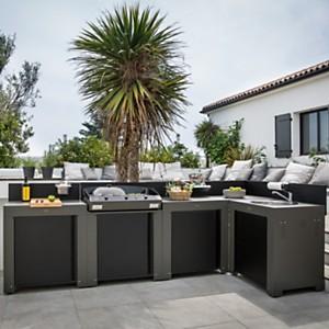 Cuisine d'extérieur en acier galvanisé  avec plancha Bergerac 75 sur son meuble
