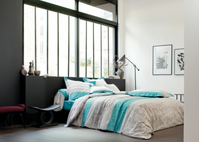 drap housse percale cadences blanc des vosges bleu canard. Black Bedroom Furniture Sets. Home Design Ideas