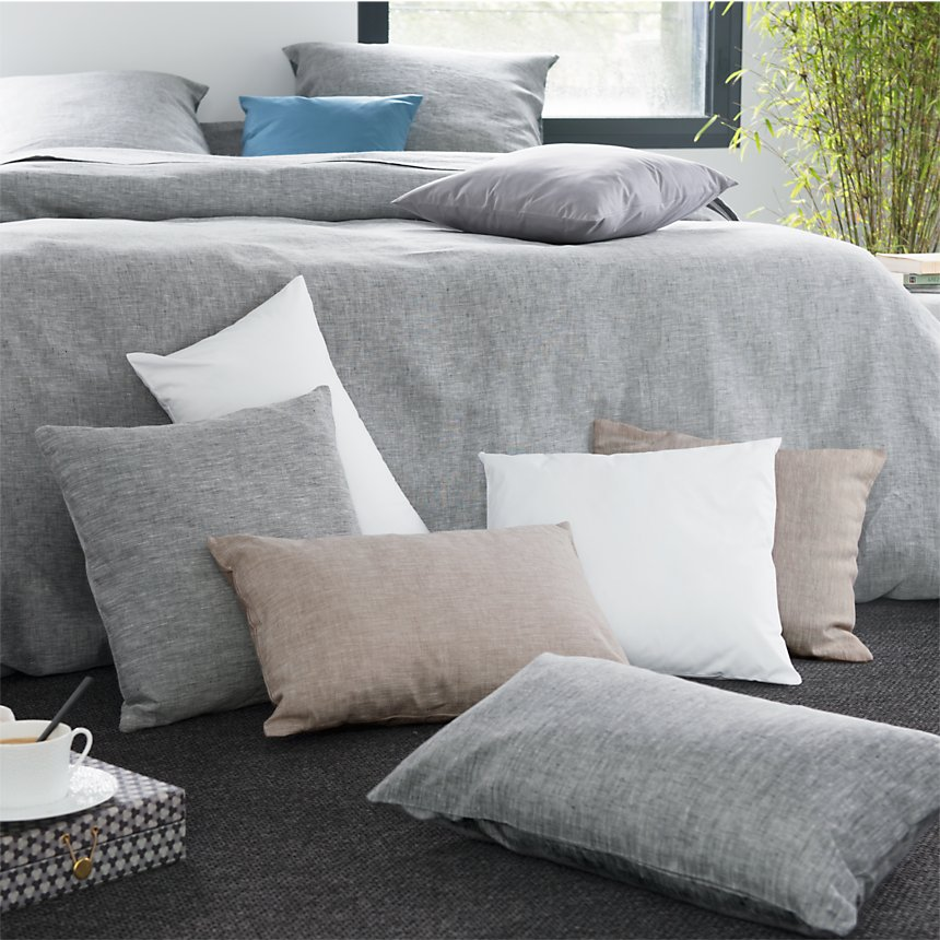 Taie d'oreiller Chambray Lin Catherine  et Francine CAMIF EDITION, gris chiné