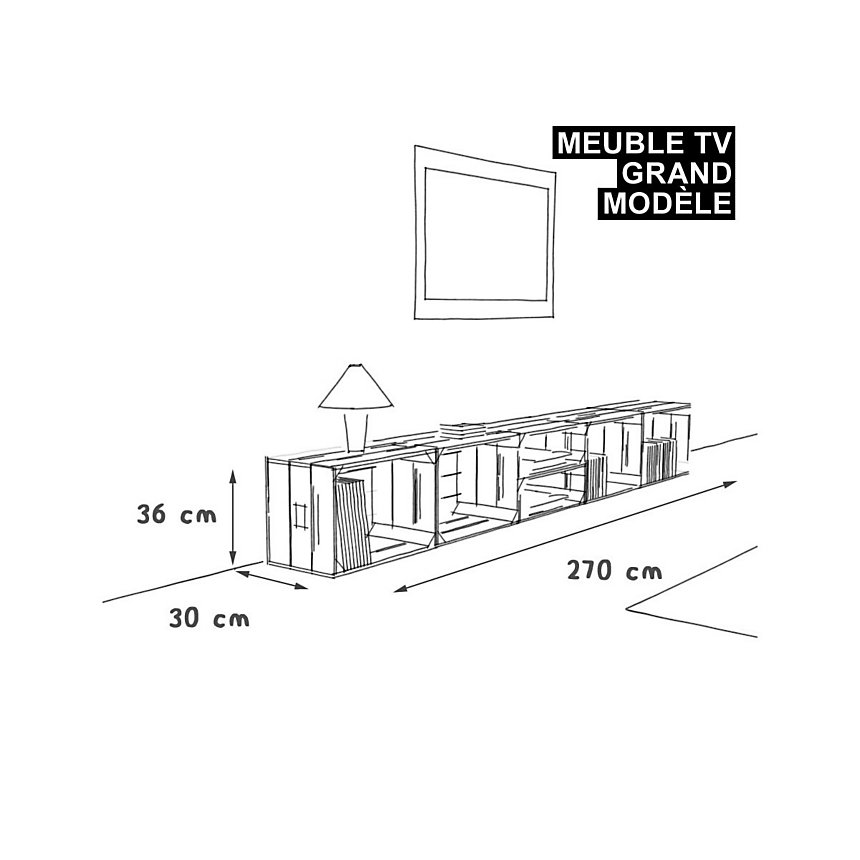 Meuble TV modulable 6 niches de rangement