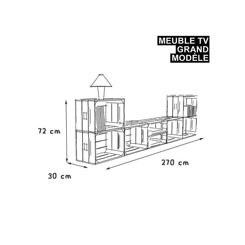 Meuble TV modulable 8 niches de rangement