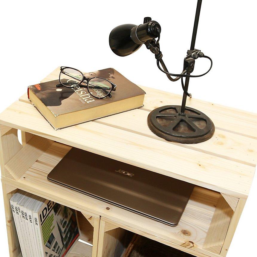 Table de chevet bois naturel avec 3 niches