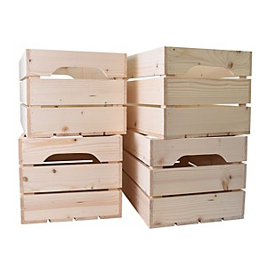 Lot de 4 caisses en bois Grand format L54xH30xP36cm