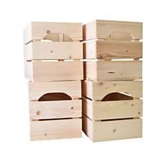 Lot de 4 caisses en bois Demi LARGE L27x