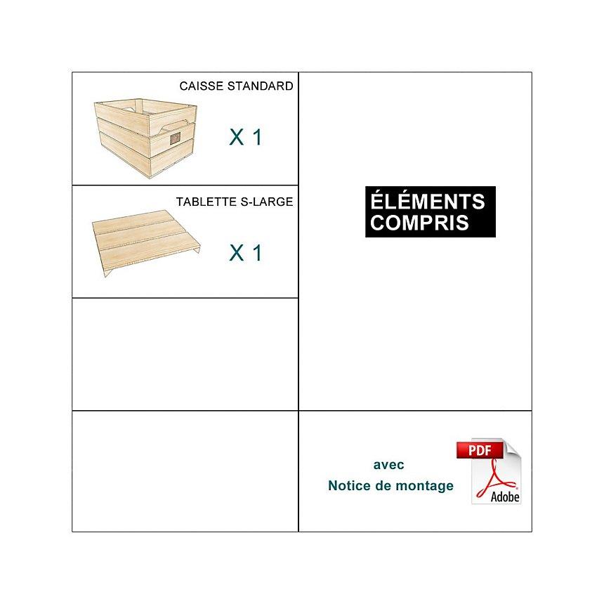 Table de chevet bois naturel avec tablette