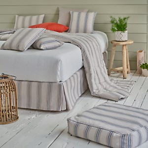 Tête de lit effet lin Matéo, gris