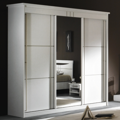 armoire 3 portes miroir coulissantes mareva blanc. Black Bedroom Furniture Sets. Home Design Ideas