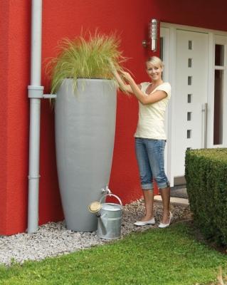 Kit récupérateur d'eau 2 en 1,  300 litres, col. Gris