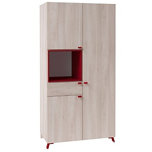 Armoire 3 portes 1 tiroir 1 niche Alex