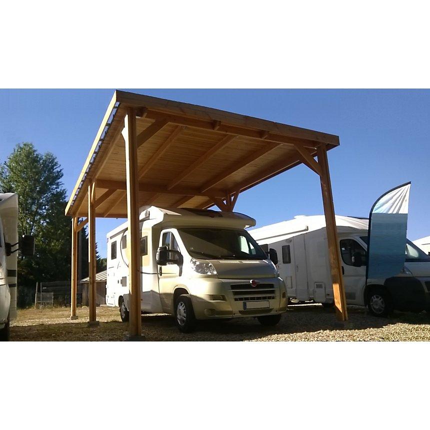 Abri pour camping car à toit plat  Aquitaine en bois Douglas CPBF