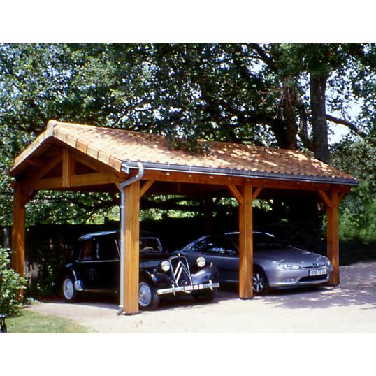 Abri 2 ou 3 voitures cihb charpente traditionnelle for Garage exterieur 2 voitures bois