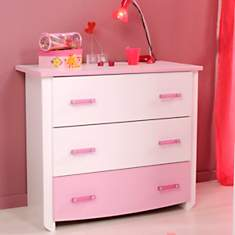 Commode 3 tiroirs Candice rose