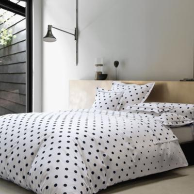 parure de lit percale charlotte blanc des vosges anthracite. Black Bedroom Furniture Sets. Home Design Ideas