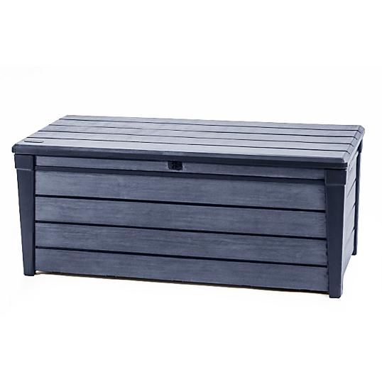 Coffre de rangement en r sine aspect bois chalet jardin for Chalet rangement jardin