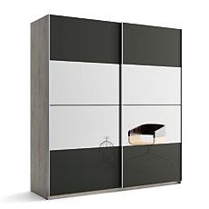 Armoire 2 portes laque/miroir De...
