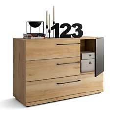 Commode 3 tiroirs + 1 porte Douglas noye