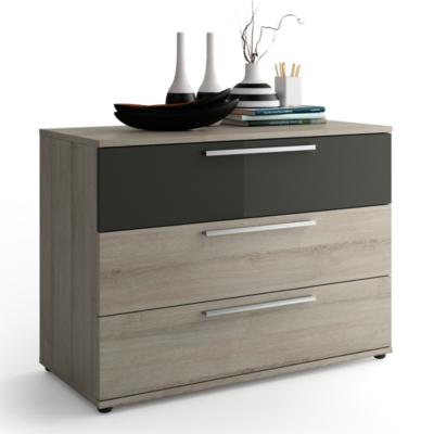 commode 3 tiroirs delphy gris. Black Bedroom Furniture Sets. Home Design Ideas
