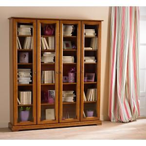 Bibliothèque Florac 4 portes vitrée, merisier