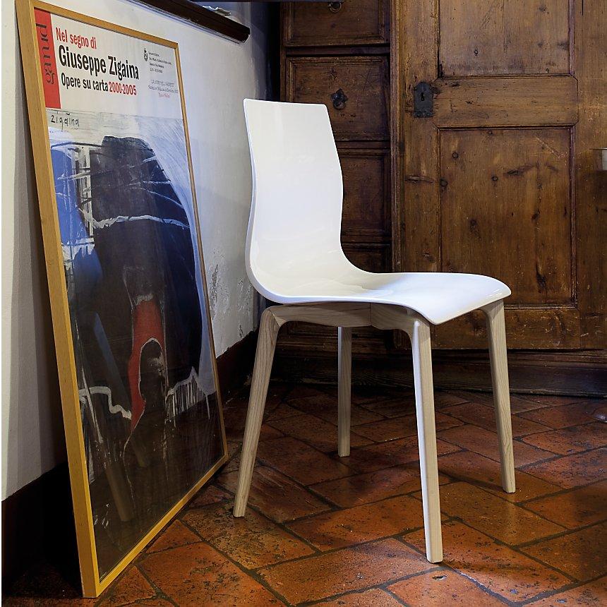 Lot de 2 chaises gel, 4 pieds bois