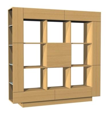 Bibliothèque 1 porte, 2 tiroirs Ilyane