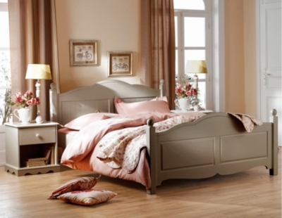 Lit 140 x 190 cm + 2 chevets Hastings  taupe