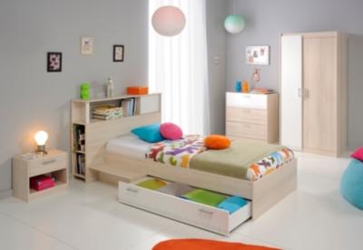 Lit rangement avec t te de lit pierre 90 x 190 cm for Camif chambre a coucher