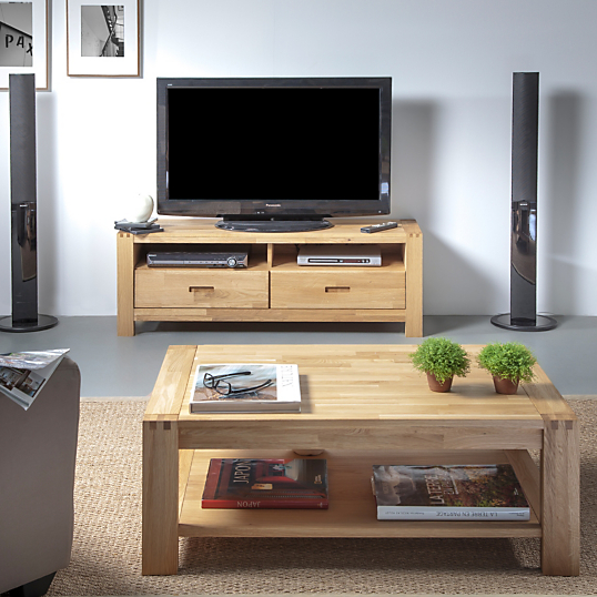 Ensemble table basse et meuble tv luminescence for Table de television en bois