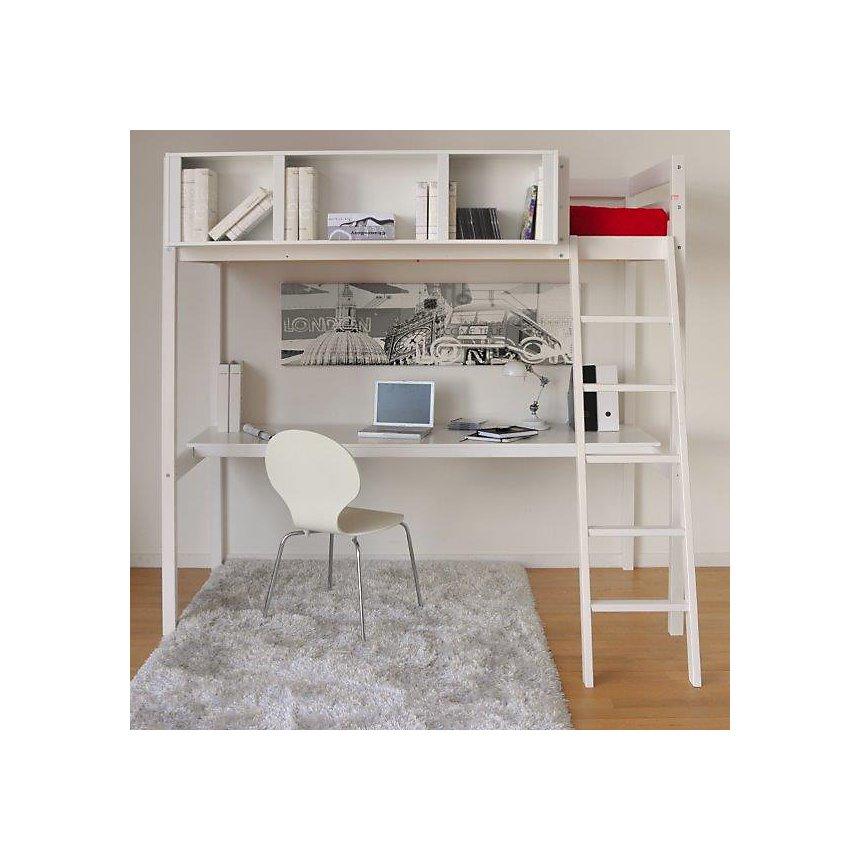 Lit Mezzanine 90 blanchi Waldo avec  espace de travail