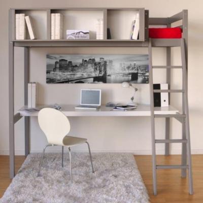 Lit Mezzanine 90 gris Waldo avec espace  de travail