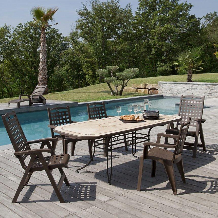Salon de jardin de repas Amalfi-Bora 2 design GROSFILLEX