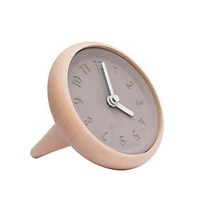 Toupie - horloge de table en bois et béton
