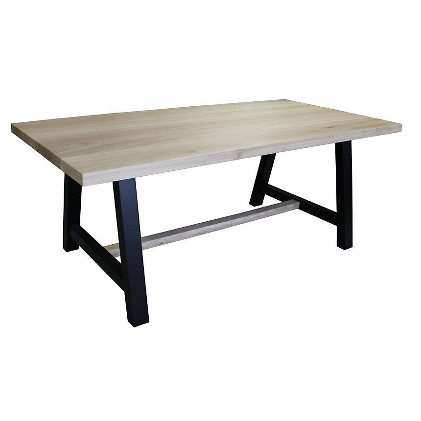 Table de repas pieds tréteaux Chêne massif blanchi et Hêtre laqué noir
