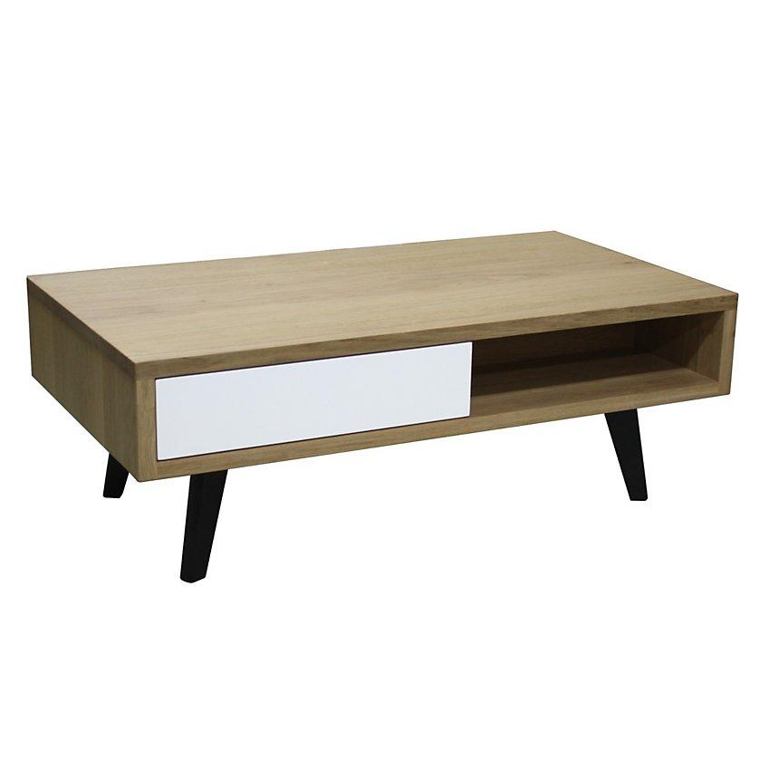 Table basse 2 tiroirs style scandinave Chêne massif blanchi et laqué