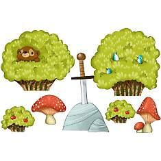 Sticker enfant Buissons et champignons