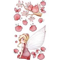 Sticker enfant - Fée assise et  papillon...