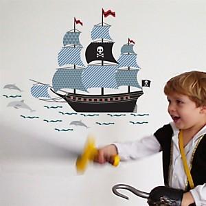 Stickers enfant Bateau de Pirate bleu