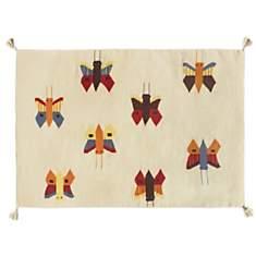 Tapis beige Kilim papillons
